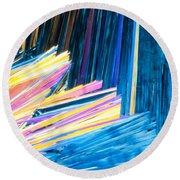 Beautiful Benzoic Acid  Microcrystals Abstract Art Round Beach Towel