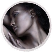 Beautiful Black Woman Face With Shiny Silver Skin Round Beach Towel