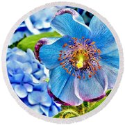 Beautiful Blue Orchid Round Beach Towel