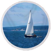 Beautiful Boat Sailing At Puget Sound Round Beach Towel
