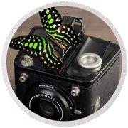 Beautiful Butterfly On A Kodak Brownie Camera Round Beach Towel