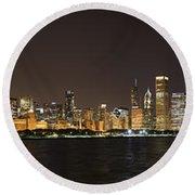 Beautiful Chicago Skyline With Fireworks Round Beach Towel
