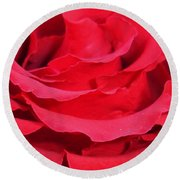 Beautiful Close Up Of Red Rose Petals  Round Beach Towel