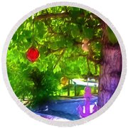 Beautiful Colored Glass Ball Hanging On Tree 1 Round Beach Towel