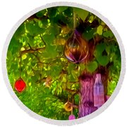 Beautiful Colored Glass Ball Hanging On Tree 2 Round Beach Towel