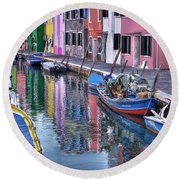 Beautiful Colors Of Burano Round Beach Towel