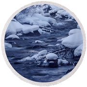 Beautiful Creek In Winter In Stanley Idaho Round Beach Towel