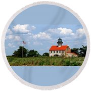 Beautiful Day At East Point Lighthouse  Round Beach Towel