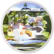Beautiful Day At The Baptist Home Of The Ozarks In Watercolor Round Beach Towel by Kip DeVore