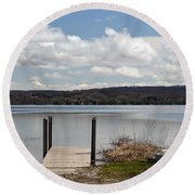 Beautiful Day At The Lake Round Beach Towel