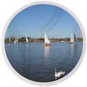 Beautiful Day By The River Round Beach Towel