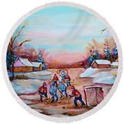 Beautiful Day For Pond Hockey Winter Landscape Painting  Round Beach Towel