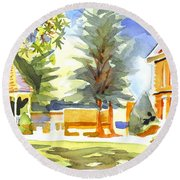 Beautiful Day On The Courthouse Square Round Beach Towel