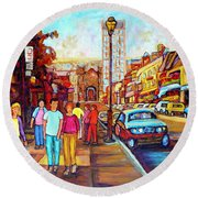 Beautiful  Downtown City Stroll  Cafe Paintings Montreal Restaurants On Crescent Street C Spandau Round Beach Towel