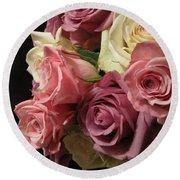 Beautiful Dramatic Roses Round Beach Towel