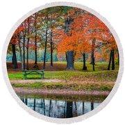 Beautiful Fall Foliage In New Hampshire Round Beach Towel