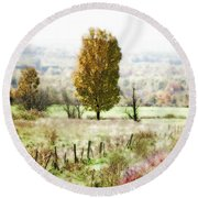 Beautiful Fall Landscape - Looks Like A Painting Round Beach Towel
