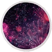 Beautiful Fireworks 12 Round Beach Towel