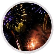 Beautiful Fireworks 5 Round Beach Towel