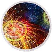 Beautiful Fireworks 8 Round Beach Towel