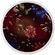Beautiful Fireworks 9 Round Beach Towel