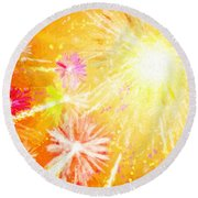 Beautiful Fireworks Round Beach Towel