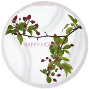 Beautiful Floral Greetings Round Beach Towel