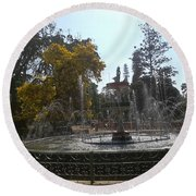 Beautiful Fountain In Lal Bagh Round Beach Towel