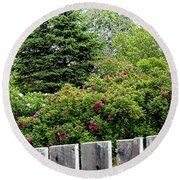 Beautiful Front Yard - Roses - Trees Round Beach Towel