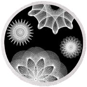 Beautiful Geometry Bw Round Beach Towel