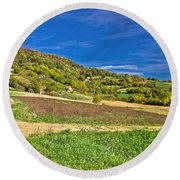 Beautiful Green Hill With Vineyard Cottages Round Beach Towel