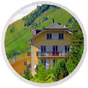 Beautiful House In Mont Blanc Round Beach Towel