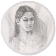 Beautiful Indian Woman Round Beach Towel