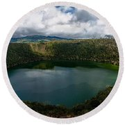 Beautiful Lake Guatavita Round Beach Towel