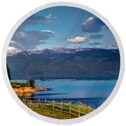 Beautiful Lake View Round Beach Towel