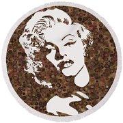Beautiful Marilyn Monroe Digital Artwork Round Beach Towel