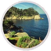 Beautiful Monterey Bay From Point Lobos Round Beach Towel