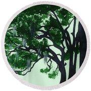 Beautiful Oak Trees Round Beach Towel