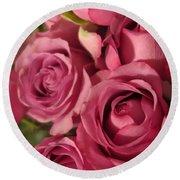Beautiful Pink Roses 6 Round Beach Towel