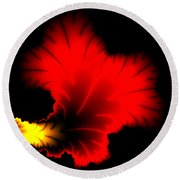 Beautiful Red And Yellow Floral Fractal Artwork Square Format Round Beach Towel