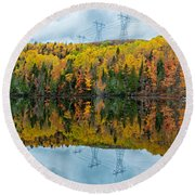 Beautiful Reflections Of A Autumn Forest In A Lake Round Beach Towel