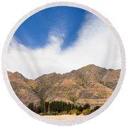 Beautiful Roys Peak Near Wanaka In Southern Alps Of New Zealand Round Beach Towel