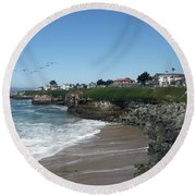 Beautiful Santa Cruz Coast Round Beach Towel