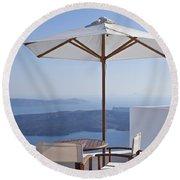 Beautiful Santorini View Round Beach Towel