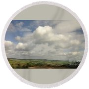 White Clouds Over Yorkshire Dales Round Beach Towel