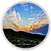 Beautiful Sky Over The Harbour Digital Painting Round Beach Towel