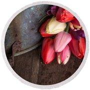 Beautiful Spring Tulips Round Beach Towel