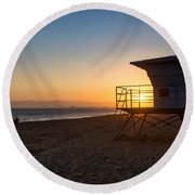 Beautiful Sunset In Point Mugu State Park In Malibu. Round Beach Towel