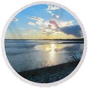 Beautiful Sunset Iowa River Round Beach Towel