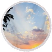 Beautiful Tropical Sunset Round Beach Towel